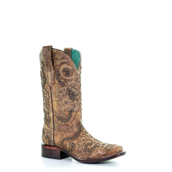 Corral Ladies Brown Overlay & Studs Boots A3677