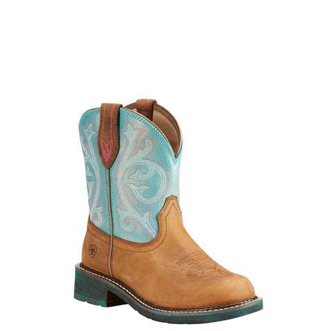 Ariat® Ladies Fatbaby Brown & Shimmer Turquoise Boot 10023113 - Wild West Boot Store