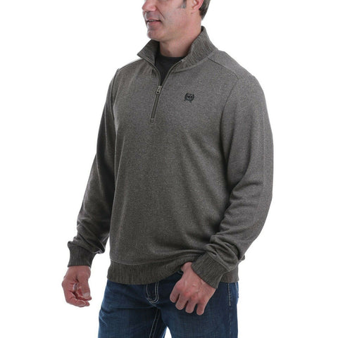 Cinch Men's Quarter Zip Brown Sweater Knit Pullover Jacket MWK1536002