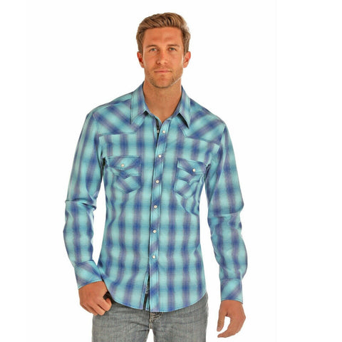 Rock & Roll Cowboy Men's Blue Crinkled Yarndye Plaid Shirts B2S1149