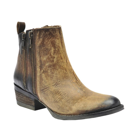 Circle G by Corral Ladies Burnished Brown Double Zipper Bootie Q0025 - Wild West Boot Store