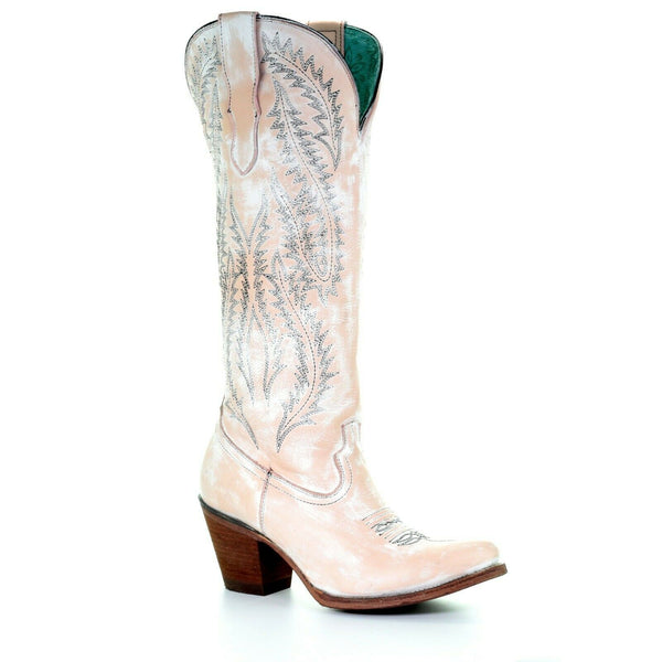 Corral Ladies Rose Pink & White Embroidery Tall Top Boots E1379