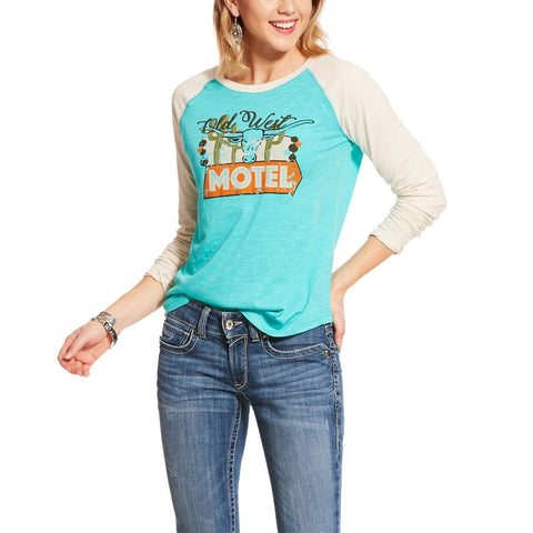 Ariat Ladies Old West Motel Turquoise & White Raglan T-Shirt 10028770