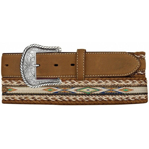 Tony Lama Men's Aged Bark Badlands Horse-Hair Belt 7289L