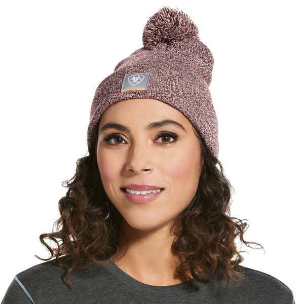 Ariat® Ladies Rebar™ Burgundy Pom Cap Beanie 10032880