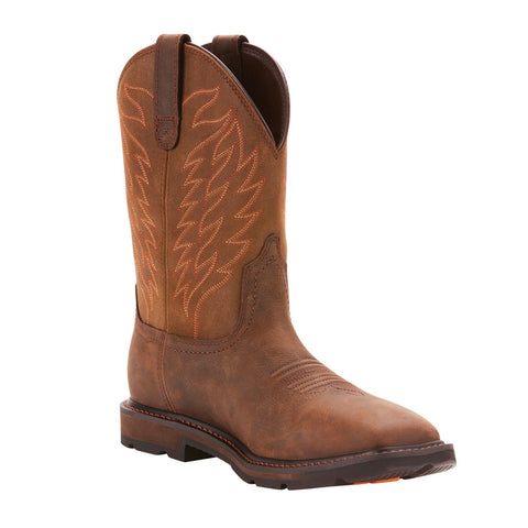 Ariat® Men's Groundbreaker H20 Square Toe Brown Work Boots 10024984 - Wild West Boot Store