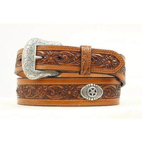 Nocona Men's Floral Embossed with Texas Star Concho Belt N2412208
