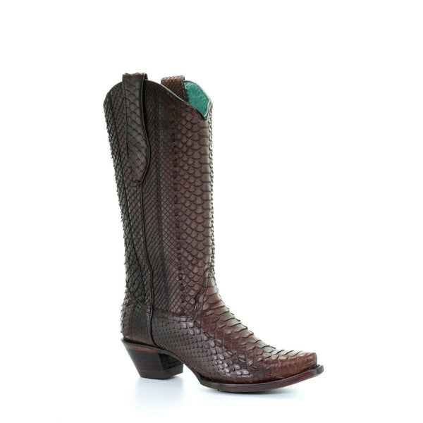 Corral Ladies Brown Full Python & Woven Snip Toe Boots A3658