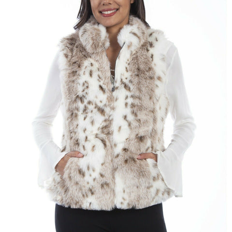 Scully Ladies Leopard Print Faux Fur Reversible Vest 8055-LEP