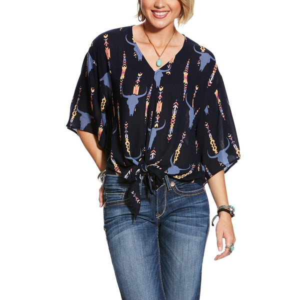 Ariat® Ladies Mai Tai Steer Head Print Front Tie Shirt 10025849 - Wild West Boot Store