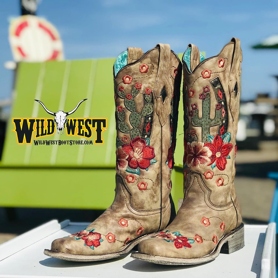 980db7e3a Corral Ladies Taupe Cactus Overlay & Floral Embroidery Boots A3769