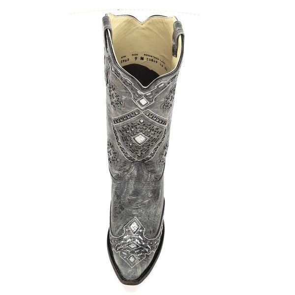 Corral Ladies Black and Silver Glitter Inlay Boots A2963 - Wild West Boot Store - 6
