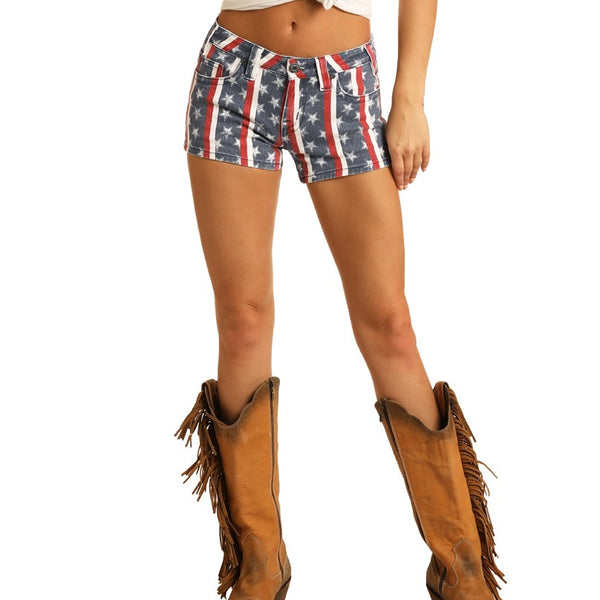 Rock & Roll Cowgirl Ladies Stars & Stripes Flag Low Rise Shorts 68-5308