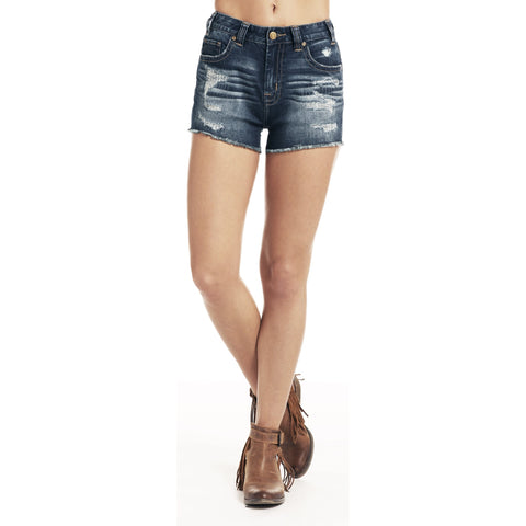 Rock & Roll Cowgirl Ladies High Rise Distressed Denim Shorts 68H9224