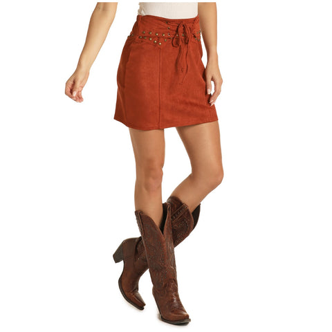 Panhandle Ladies Juniors Lace Front Rust Skirt 69-8400-90