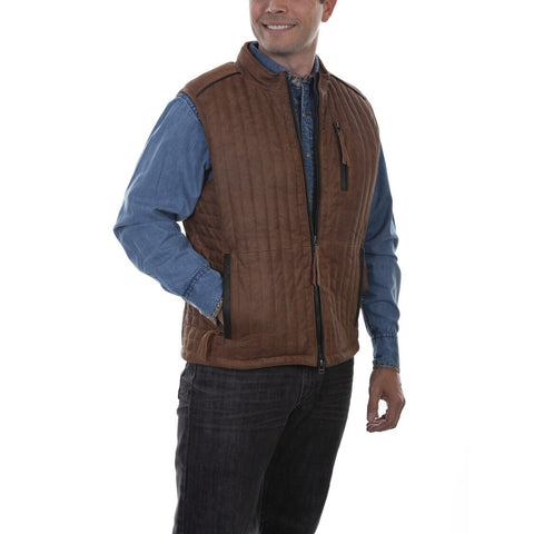 Scully Men's Brown Lamb Leather Vest 731-154
