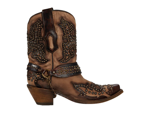 Corral Ladies Sand & Brown Harness Short Boot w/ Stud & Embroidery Overlay A3975