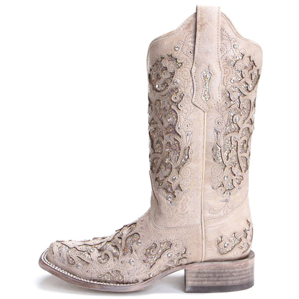 Corral Ladies White Glitter Inlay/Crystals Square Wedding Boot A3397 - Wild West Boot Store