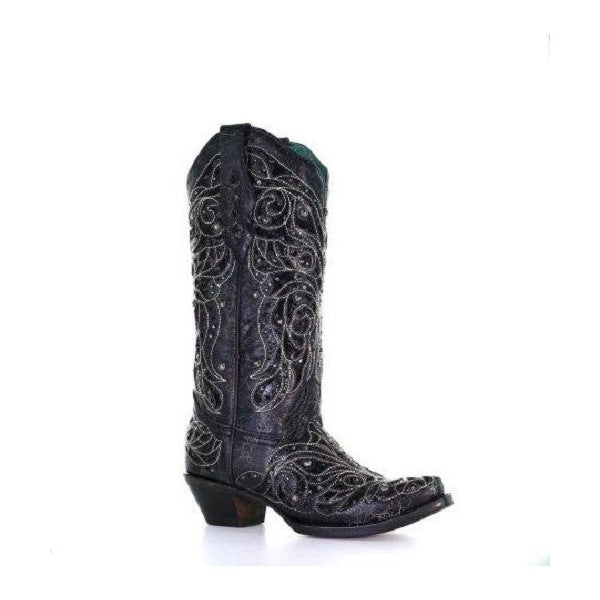 Corral Ladies Black Inlay Bone Embroidery & Studs Black Boots A4123