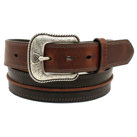 Ariat Men's Two Toned Beveled Center Cord Black & Brown Belt A10356107