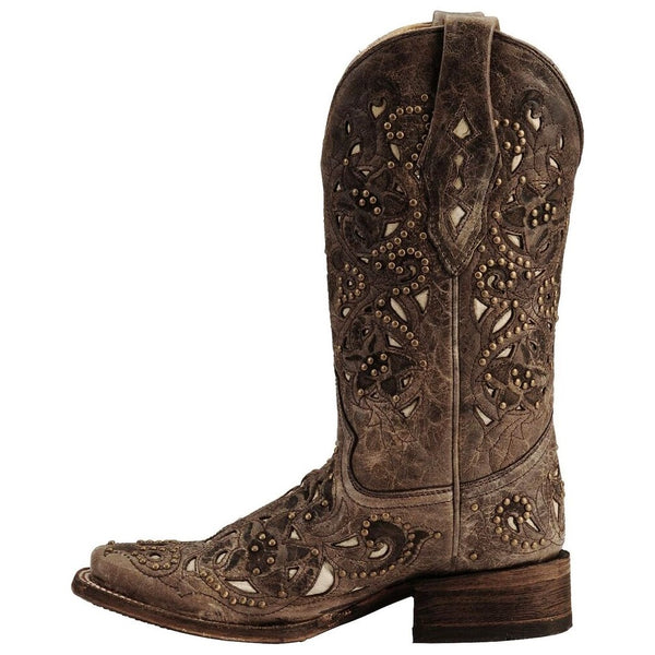 Corral Ladies Jessica Brown Crater Bone Inlay & Studs Boot A1121