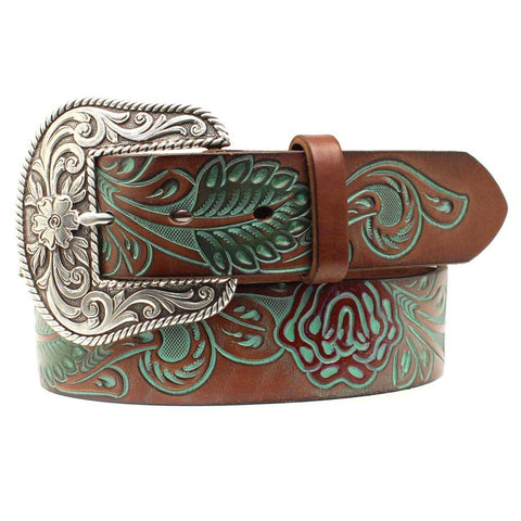 Ariat Ladies Turquoise Embossed Rose & Leaf Scroll Brown Belt A1528408