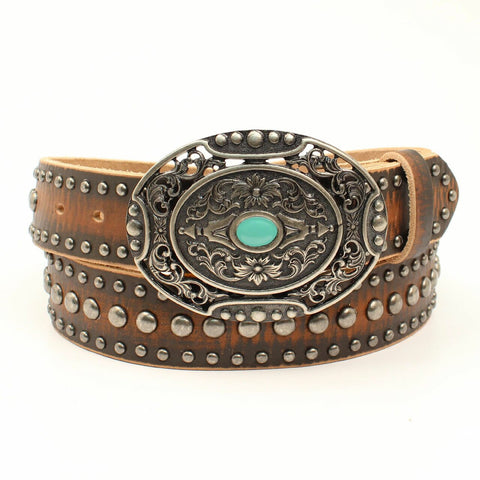 Ariat Ladies Distressed Brown Nail-head Studded Leather Belt A1529002