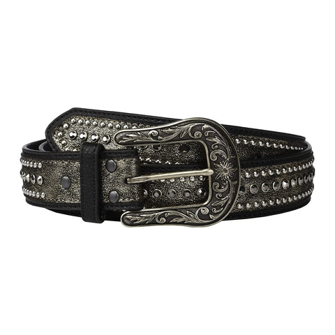 Ariat Ladies Metallic With Rhinestone Black Edge Leather Belt A1529901