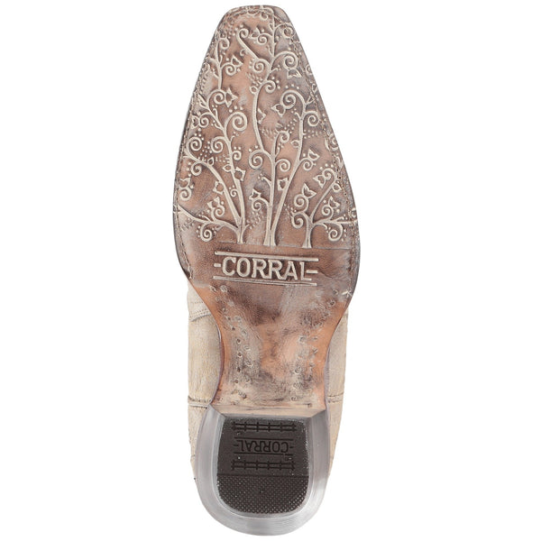 Corral Ladies White Glitter Inlay Crystals Wedding Boot A3322 - Wild West Boot Store
