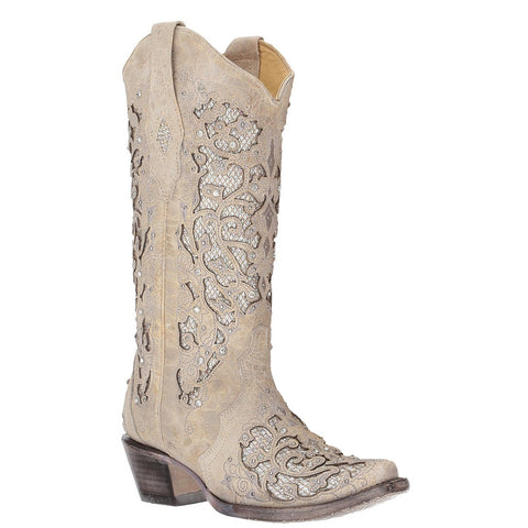 42f7fb05adf Corral Ladies White Glitter Inlay Crystals Wedding Boot A3322 - Wild West  Boot Store