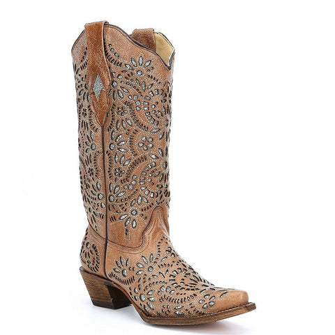 Corral Ladies Brown Glitter Inlay Boot A3352 - Wild West Boot Store