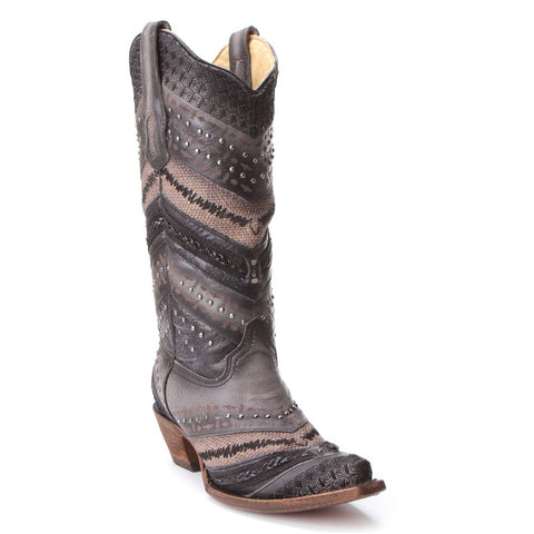 Corral Ladies Antonia Ocean Grey Embroidery & Studs Boots A3355