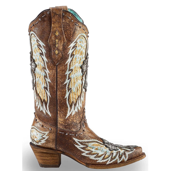 Corral Ladies Chocolate Gnarly Fish Wing & Cross Boots A3495 - Wild West Boot Store
