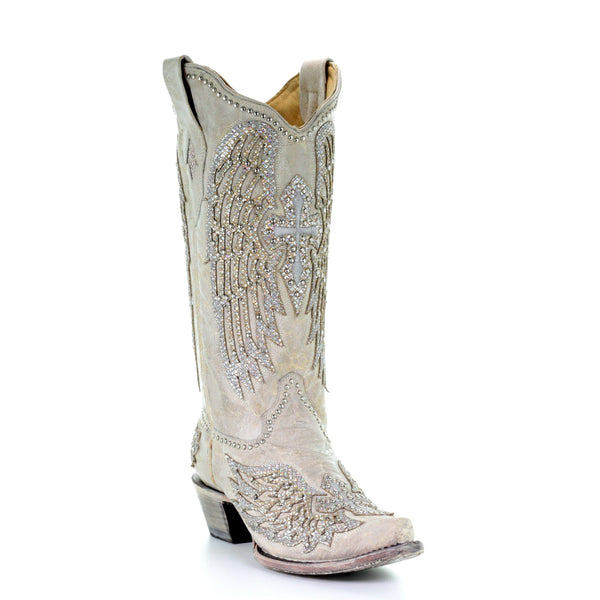 Corral Ladies White Glitter Wing & Cross Studded Boots A3571