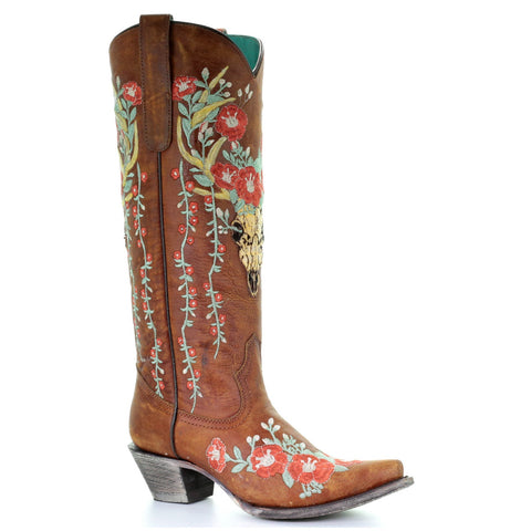 Corral Ladies Tan Deer Skull Overlay & Floral Embroidery Boots A3620 - Wild West Boot Store