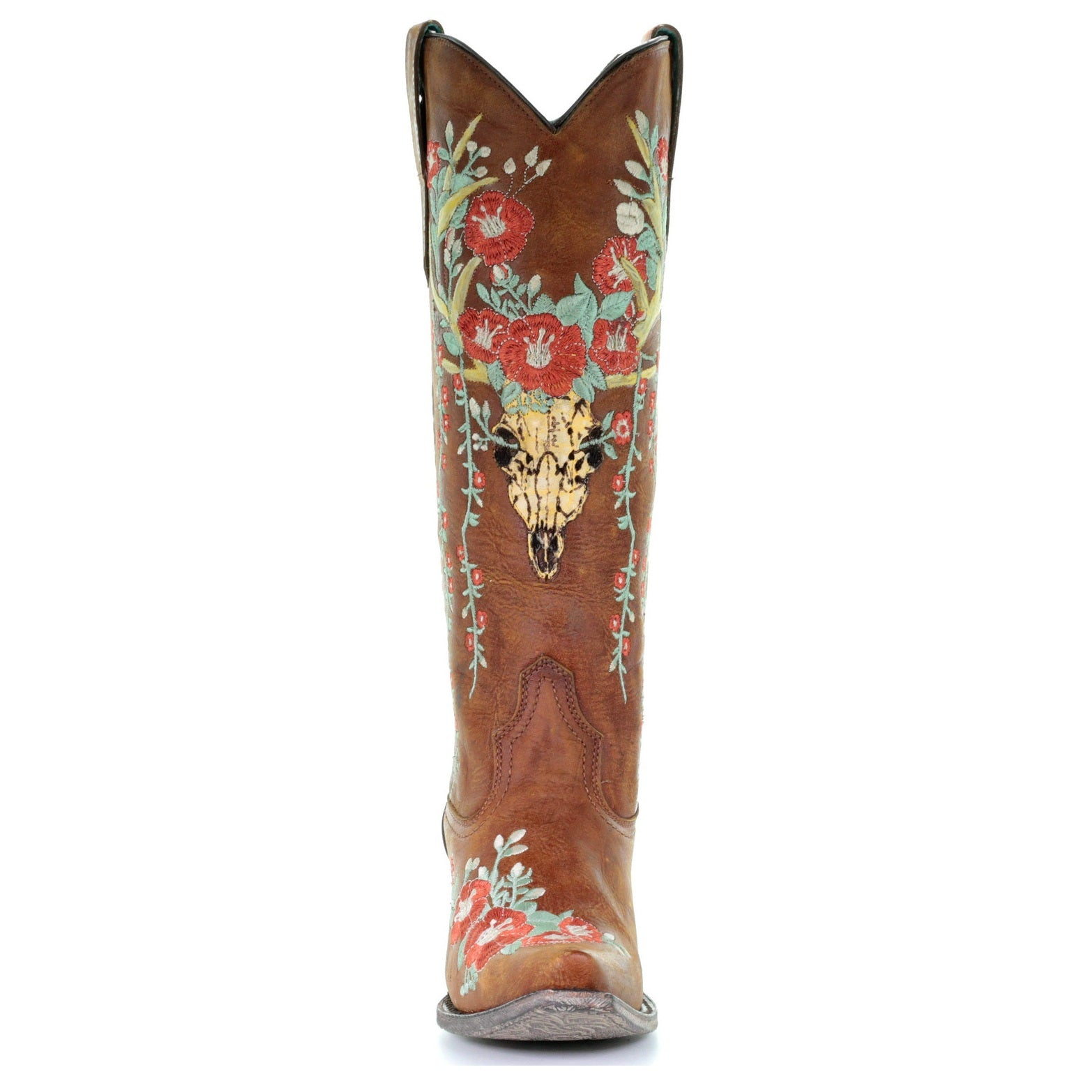1c5920ef6 Corral Ladies Juliet Tan Deer Skull Floral Embroidery Boots A3620