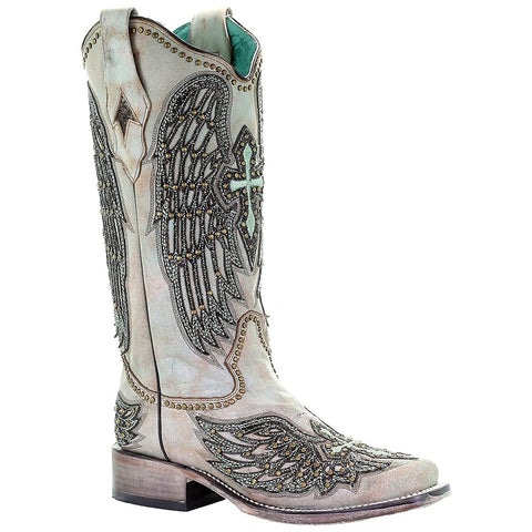 Corral Ladies Turquoise Cross & Wings Overlay & Studs Boots A3743