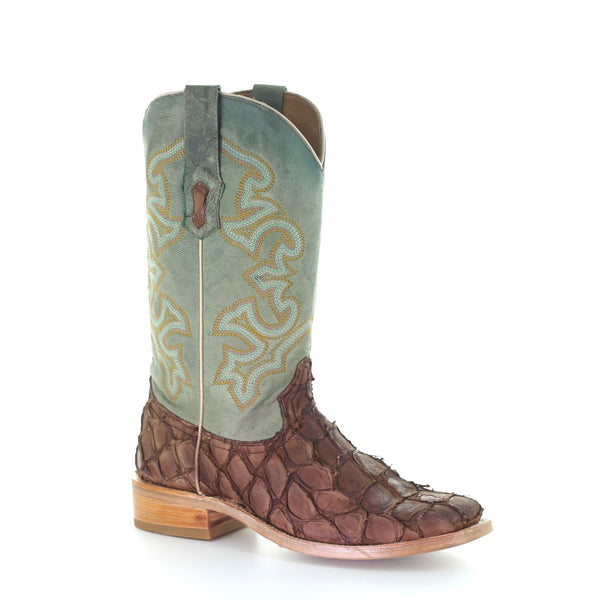 Corral Men's Brown & Turquoise Fish Embroidery Boots A4048
