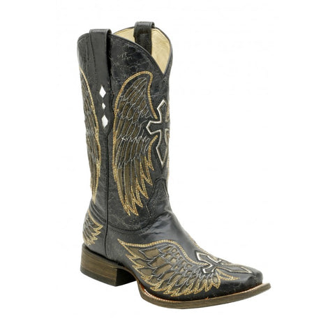 Corral Men's Black & Gold Wing & Cross Square Toe Boots A1972 - Wild West Boot Store