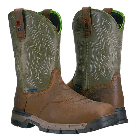 Ariat® Men's Rebar Flex Western H2O Rye Brown & Green Boots 10021485 - Wild West Boot Store