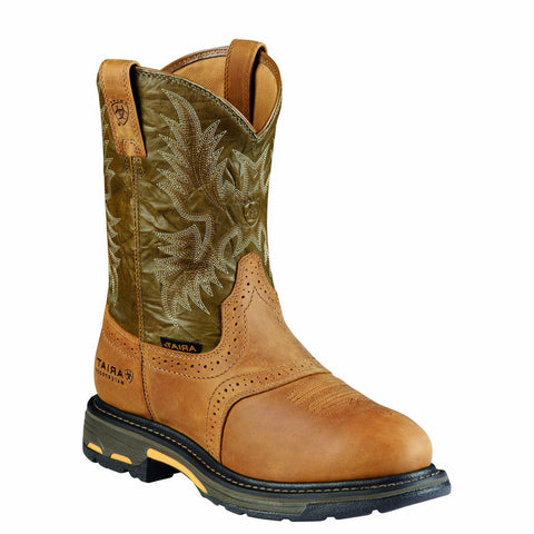 Ariat Mens WorkHog Pull-On H2O Boots Aged Bark / Army Green 10008633 - Wild West Boot Store - 1