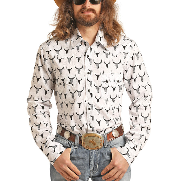Rock & Roll Cowboy Men's Dale Brisby Steer Skull Snap Shirt B2S3078