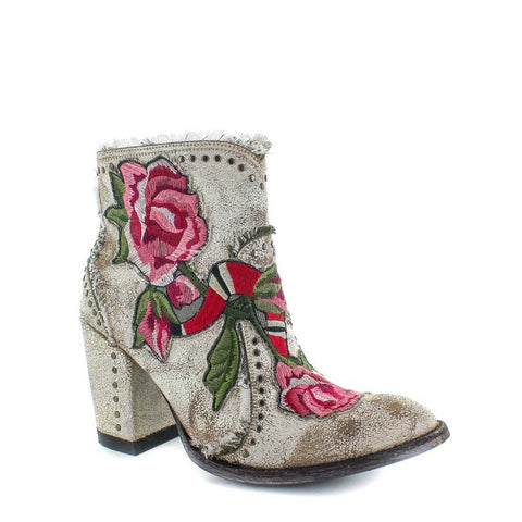 Old Gringo Ladies Carla Short Crackled Bone Floral Boots BL3184-3