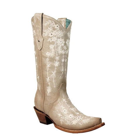 Corral Ladies Bone Floral Embroidery/Stud Wedding Boot C3178 - Wild West Boot Store
