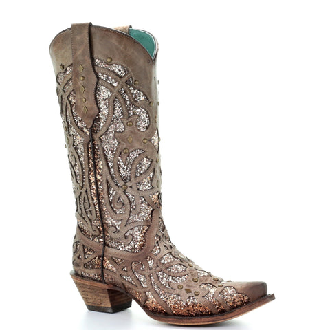 Corral Ladies Orix Glitter Inlay and Studded Western Boots C3331 - Wild West Boot Store