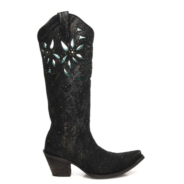 Corral Ladies Black & Gold Net Embroidery Cut-Out & Studs Boots C3345 - Wild West Boot Store
