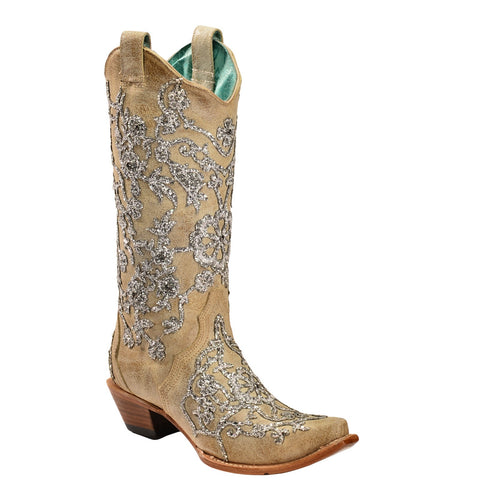 Corral Ladies Bone Glitter Overlay Embroidery & Crystals Boots C3356 - Wild West Boot Store
