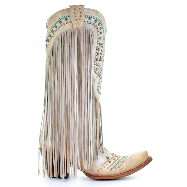 Corral Ladies Bone Multicolor Crystal and Fringe Snip Toe Boots C3424