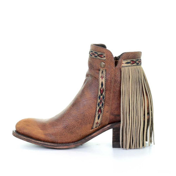 Corral Ladies Brown Fringe Aztec Zip Up Bootie E1215
