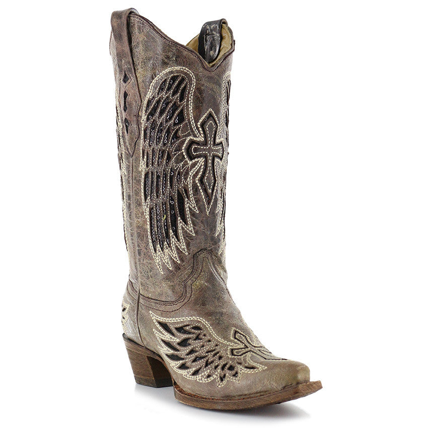 55761af38bc Corral Womens Brown/Black Wing and Cross Sequence Boots A1241 - Wild West  Boot Store